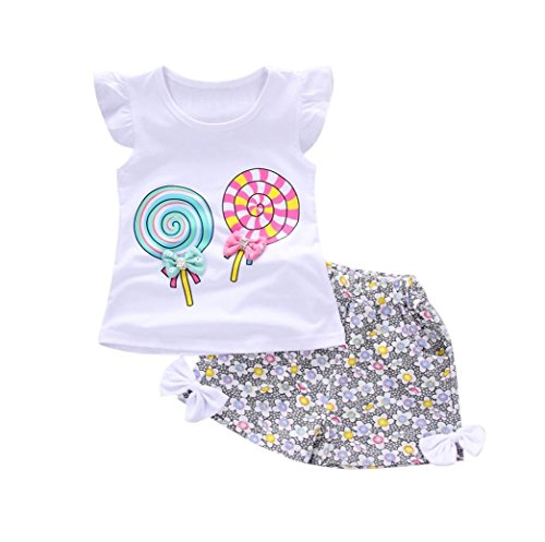 Fossen Bebe Niña Camiseta Sin Mangas de Lollipops y Pantalones Cortos Florales Conjunto de Ropa Verano (18 Meses, Serie 2~Blanco)