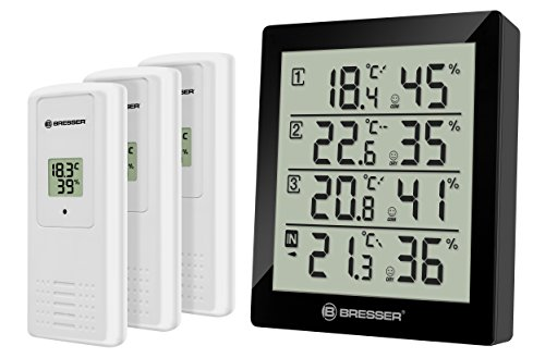BRESSER Temeo Hygro Quadro Termometro e Igrometro per 4 Punti di Misura, Nero, 10.4x2.5x12 cm