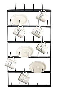 "Metal Coffee Mug Rack - Large 6 Row Wall Mounted Storage Display Organizer Rack For Coffee Mugs, Tea Cups, Mason Jars, and More. (38"" x 20.5"" x 3"") by Mug Mount"