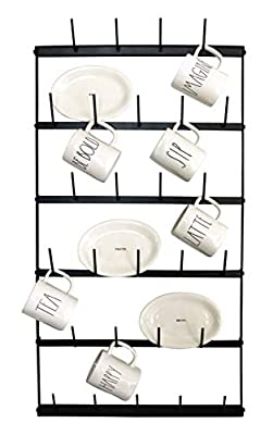 "Metal Coffee Mug Rack - Large 6 Row Wall Mounted Storage Display Organizer Rack For Coffee Mugs, Tea Cups, Mason Jars, and More. (38"" x 20.5"" x 3"") by Mug Mount"
