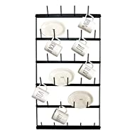 "Metal Coffee Mug Rack - Large 6 Row Wall Mounted Storage Display Organizer Rack For Coffee Mugs, Tea Cups, Mason Jars, and More. (38"" x 20.5"" x 3"")"