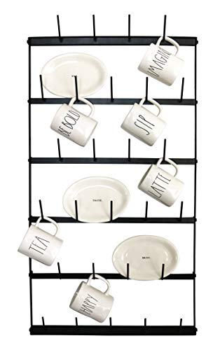 Metal Coffee Mug Rack - Large 6 Row Wall Mounted Storage Display Organizer Rack For Coffee Mugs, Tea Cups, Mason Jars, and More. (38' x 20.5' x 3')