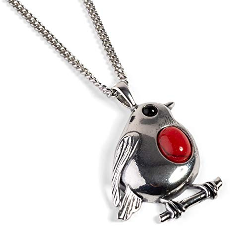 Large Rockin Robin Bird Necklace in 925 Silver and Coral Christmas Jewellery 16.5' Silver Chain with Gift Box