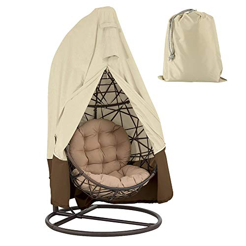 """BullStar Upgrade Patio Hanging Chair Cover 420D Waterproof Wicker Egg Swing Chair Covers with Zipper Heavy Duty Oxford Outdoor Furniture Protector (75""""HX45""""D)"""