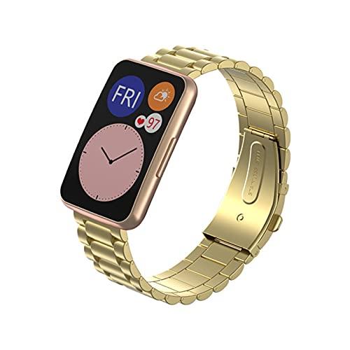 YIFEIYA Correa de Acero Inoxidable de Metal para la Correa de reemplazo de Ajuste de Reloj Huawei para Huawei Watch Fit Band Band Smart Watch Accesorios Correa de reemplazo