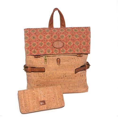 Sac-à-dos anti-vol en liège portugais avec un portefeuille comme cadeau, portefeuille, porte-cartes, sac à main végétalien, cadeaux écologiques pour femmes, grande capacité, qualité, léger (couleur 2)