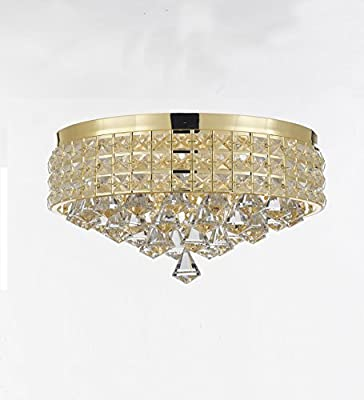 Flush Mount French Empire Crystal Chandelier Chandeliers Lighting, Ht 8 X Wd 15, 4 Lights, Crystal Gold Metal Shade flushmount