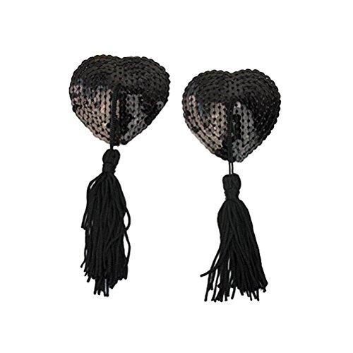 Tinksky Tinksky Kleine Pasteten Brust Sequins Nippel Cover Aufkleber Love Heart Quaste Brust Concealer Pad für Frauen (Schwarz)