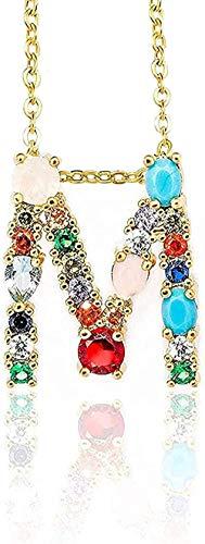 BEISUOSIBYW Co.,Ltd Collar Collar de Color Dorado con Colgante Inicial Collar de circón 26 Letras Nombre de Personalidad Accesorios de joyería para Mujeres y Collar de Regalo de Novia