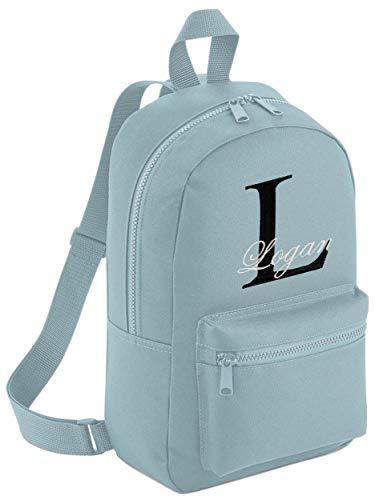 Personalised Boys Girls Backpack Rucksack Bag Mini School Nursery PE Any Name (Powder Blue - with Name)
