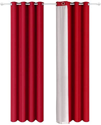Shang Gu - Cortinas aislantes térmicas de doble cara con revestimiento plateado con ojales para dormitorio, salón, oficina, 140 x 250 cm, color rojo