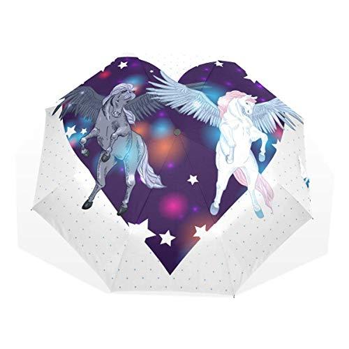 Trushop Paraguas Automático Pair Winged Pegasus Windproof Travel Umbrella Compact Folding Umbrella