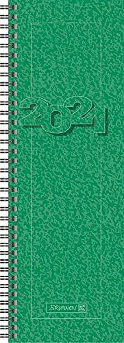 Brunnen 1078201501 Tischkalender/Vormerkbuch Modell 782, 1 Seite = 1 Woche, 10,0 x 29,7 cm, Karton-Umschlag grün, Kalendarium 2021, Wire-O-Bindung