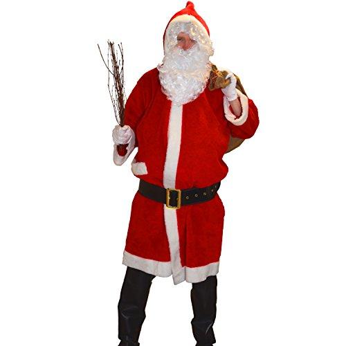Krause & Sohn Kostüm Weihnachtsmann-Mantel Plüsch hochwertig Kapuze Stabiler Gürtel Nikolaus Santa Claus