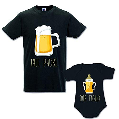 Idea Regalo Coppia di T-Shirt Papa' Figlio Tale Padre Tale Figlio - Birra Nere Uomo L - Bimbo 3 Mesi