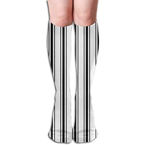 kslae Materasso a ticchettio stretto motivo a strisce in bianco e nero scuro donne tubo al ginocchio calze autoreggenti calze cosplay 50 cm (19,6 pollici)