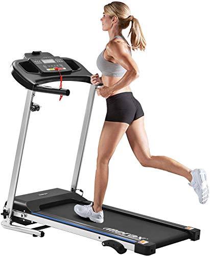 Kanavi Cinta de correr, dispositivo de gimnasia eléctrico plegable, bicicleta estática, compacta, con soporte para tableta con pantalla LCD