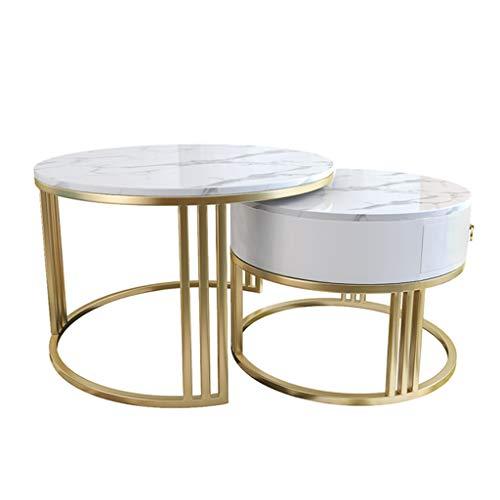 Couchtisch für zu Hause 2er-Set Beistelltisch aus Marmor, unsichtbar, große Schublade, schlanke, minimalistische Dekoration für das Wohnzimmer zu Hause, weiß