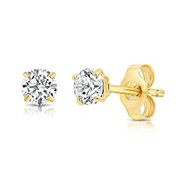 Crafted in 14K SOLID YELLOW GOLD, The earrings & the secure Butterfly Push-Backs are both stamped 14K to seal the authenticity and guarantees quality. A pair of Solitaire Sparkling Shimmering Cubic Zirconia Stud Earrings in Secure and Solid 14ct. yel...