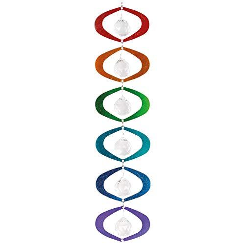 CIM Metall Windspiel - Crystal Rainbow Chain - 6 Objekte mit Glitzerpigmenten und Facettschliff-Kugeln inklusiv Aufhängung – attraktive Raum- und Garten-Dekoration (Oval)