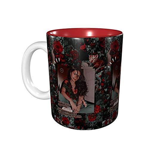 DJNGN Tazas novedosas de Ales-Sia Cara, prácticas tazas/tazas de café, 11 onzas de interesantes tazas de café rojas