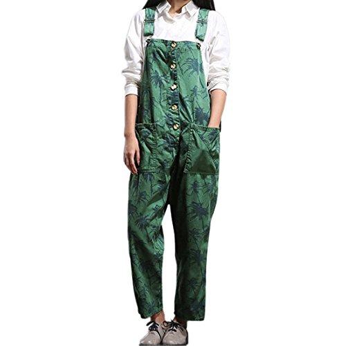 Sidiou Group Damen Casual Printed Baggy Hose Weite Bein Latzhosen Spielanzug Jumpsuit Spielanzug (One Size, Stil 3-Grün)
