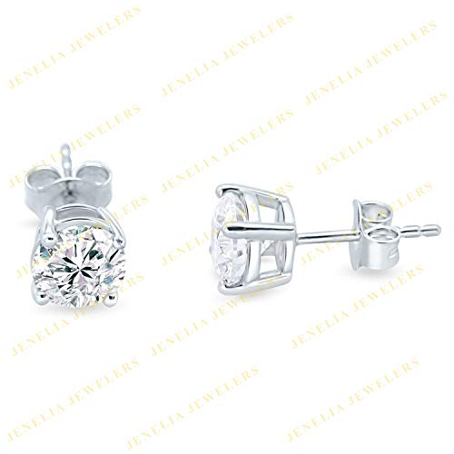 Solitaire 14K Real White Gold 1.75 Ct Round Cut Cubic Zirconia Diamond Stud Earring For Woman's