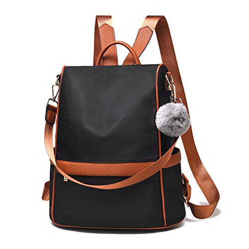 Women Backpack Purse Nylon Anti-theft Fashion Casual Lightweight Travel School Shoulder Bag(Black&Brown large)