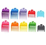 """Harapu 10 Pcs Colorful Professional Hair Clipper Combs Guides 1/16"""" to 1"""",Attachment Guide Combs Replacement Guards Set for Wahl Clippers/Trimmers"""