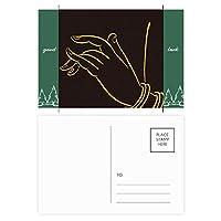 仏教の宗教のブラック・イエロー・ハンド グッドラック・ポストカードセットのカードを郵送側20個