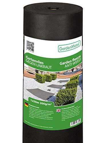 GardenMate 1mx50m Rolle 200g/m² Premium Gartenvlies - Unkrautvlies Extrem Reißfestes Unkrautschutzvlies - Hohe UV-Stabilisierung - Wasserdurchlässig - 1mx50m=50m²