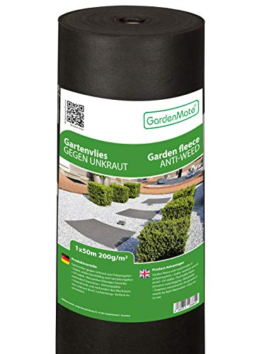 GardenMate 1m x 50m Rouleau Toile Anti-Mauvaises Herbes en Non tissé 200g/m2