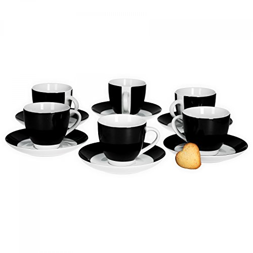 Van Well 6er Set Kaffeetasse mit Untertasse Serie Vario Porzellan - Farbe wählbar, Farbe:schwarz