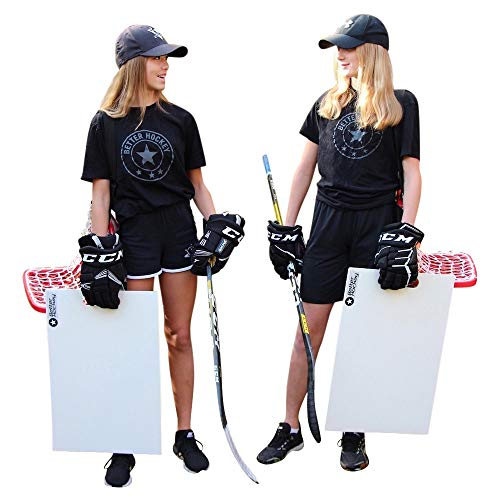 Better Hockey Extreme Sauce Combo Double - Hinterhofspiele - Trainingshilfe für Flipp-Pässe - Trick Shot Kit - Mini-Tor fasst bis zu 40 Pucks - Schussplatte simuliert das Gefühl von echtem EIS