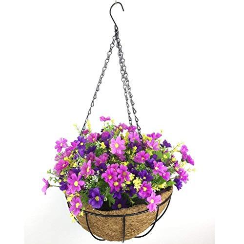 Yosposs Fleurs à suspendre paniers Kz9524-w771 Fleurs Artificielles Daisy extérieur intérieur Patio pelouse Jardin Panier à suspendre avec chaîne 25,4 cm de pot de fleurs, extérieur/intérieur Pour Maison/décoration de jardin
