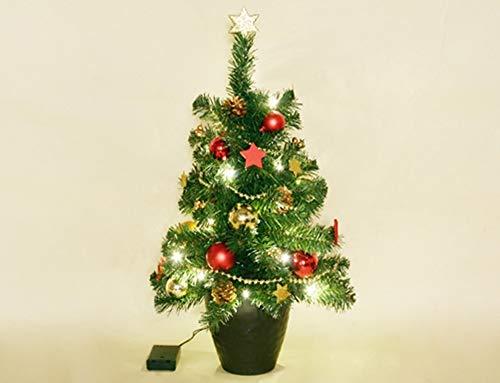 HiLight Künstlicher LED Weihnachtsbaum im Topf mit 20 LEDs 60 cm Tannenbaum Christbaum Dekobaum beleuchtet und dekoriert