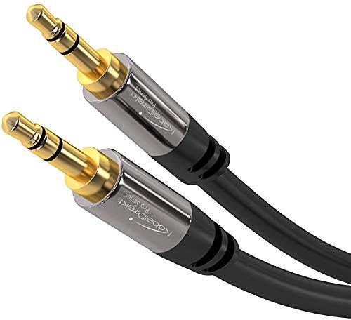 KabelDirekt – 0,5 m – Aux-Kabel & 3,5-mm-Klinkenkabel (Stereo-Audiokabel, nahezu unzerstörbares Metallgehäuse, für Smartphones/Tablets, Notebooks/Laptops, Autos, MP3-Player & andere Geräte, schwarz)