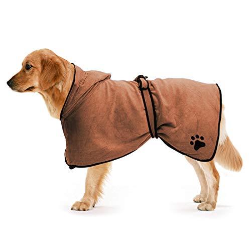 Zellar Hunde Bademanteltuch mit Verstellbarer Riemenhaube, schnell trocknende Mikrofaser, super saugfähig für Haustiere, Hunde und Katzen, Bademanteltuch zum Trocknen