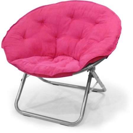 Mainstay Large Microsuede Saucer Chair with Soft, Wide seat Great for Lounging, Dorm Rooms or Apartments in Multiple Colors (Pink)