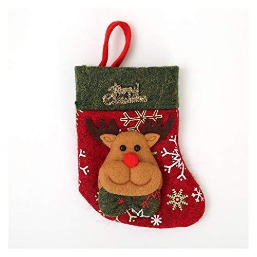 Naikaxn Chaussettes de Noël Noël Décoration de Noël Vaisselle Couverts Casquettes Porte de Noël Sac Cadeau Couteau Fourchette cuillère Set de Poche Décor Sac Chaussettes de Noël (Color : 02 Elk)