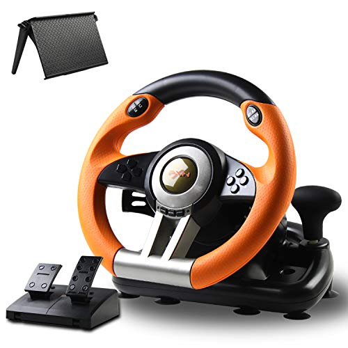 Game Racing Wheel, PXN-V3II 180° Competition Racing Steering Wheel with Universal USB Port and with Pedal, Suitable for PC, PS3, PS4, Xbox One, Nintendo Switch - Orange