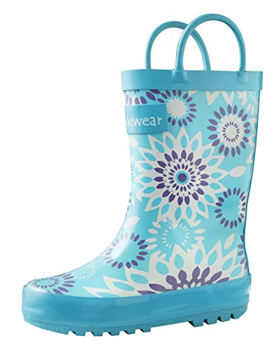 Product Image of the OAKI Kids Rubber Rain Boots with Easy-On Handles, Frozen Bursts, 8T US Toddler