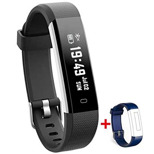NAKOSITE RAY2433 Fitness armband tracker sportuhren Smartwatch fur damen herren kinder uhr mit Schrittzähler,Kalorienzähler Schlaf Distanz.Bluetooth 4.0,Android 5.0 oder IOS 8.0 SMS.Ersatz Blau Band
