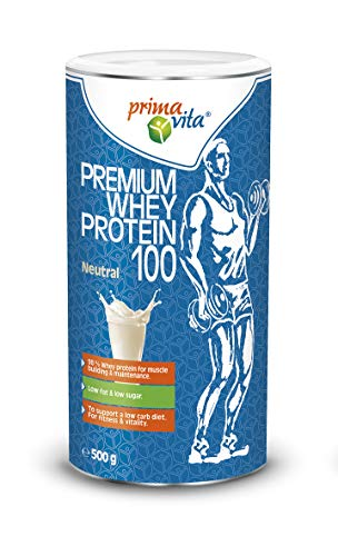 Primavita - Premium Whey Protein 100 with 98% Whey Protein, Low Fat, Low Sugar, Neutral, 500g (20 Portions)