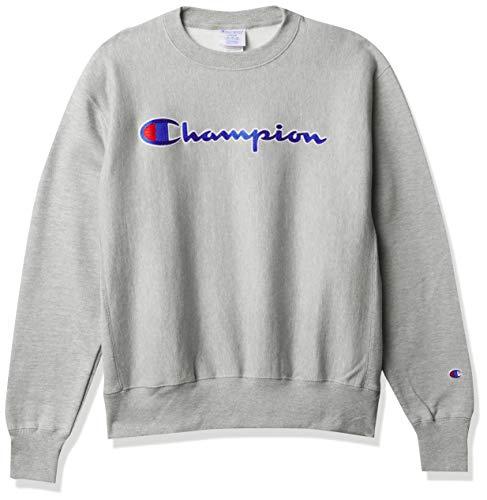Champion LIFE Men's Reverse Weave Sweatshirt, oxford gray/CHAINSTITCH script, Large