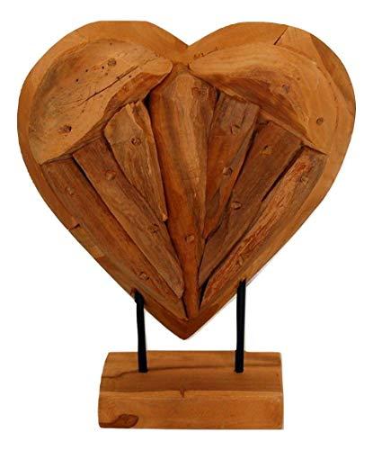 Sesua Holzherz Teak Holz Natur massiv Herz 30 cm