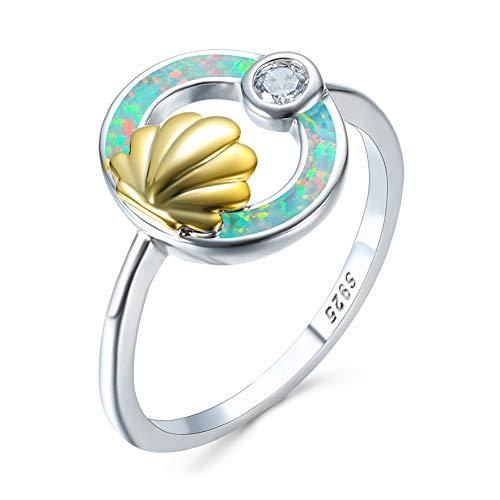 G&UWEI 925 Sterlingsilber-Opal Wave-Solitaire Hochzeit Verlobungsring Weiß Erstellt Opal Claddagh Ring Für Teen Für Frauen,7