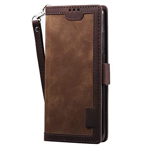Nadoli Kartensteckplätzen Brieftasche Hülle für iPhone XS Max,Flip Wallet Case Handyhülle PU Leder Tasche Cover Ständer Magnetverschluß Schutzhülle,Braun