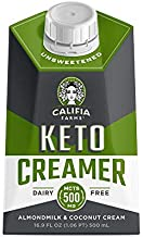 Califia Farms - Keto Coffee Creamer, Unsweetened, 16.9 Oz (Pack of 6) | Almond Milk & Coconut Cream | Low Calorie | No Sugar Added | 500mg MCT | Non Dairy | Plant Based | Whole30 | Shelf Stable