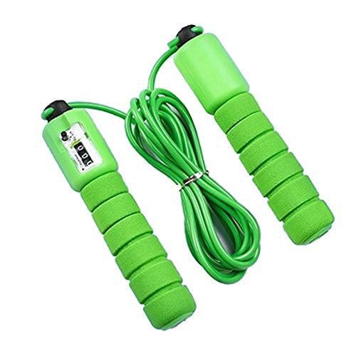 Esponja profesional unisex Cuerda de conteo electrónico Patrón de saltar Cuerda Saltar Examen físico Equipos de fitness-_verde
